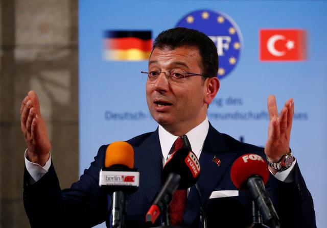 FILE PHOTO: Istanbul Mayor Ekrem Imamoglu speaks after being awarded with the German-Turkish Friendship Award 'Kybele 2019' in Berlin, Germany, November 8, 2019. REUTERS/Fabrizio Bensch