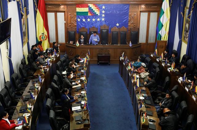 A general view shows a session of the Bolivian senate in La Paz, Bolivia November 14, 2019. REUTERS/Marco Bello