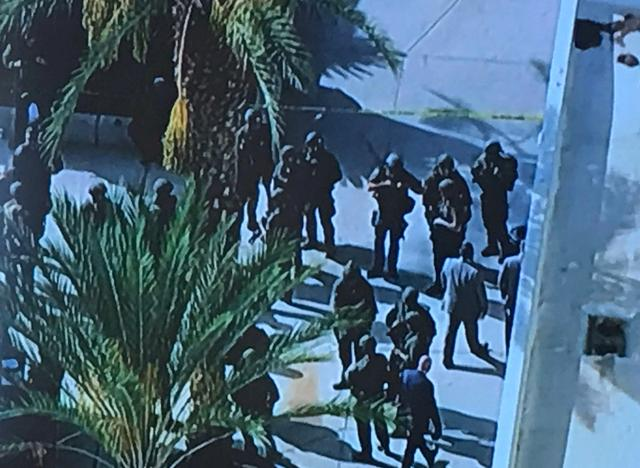 L.A. County Sheriff's Department (LASD) Special Enforcement Bureau (SEB) members are pictured after a search following a shooting at Saugus High School in Santa Clarita, California, U.S., November 14, 2019 in this image obtained from social media. LASD SEB via REUTERS