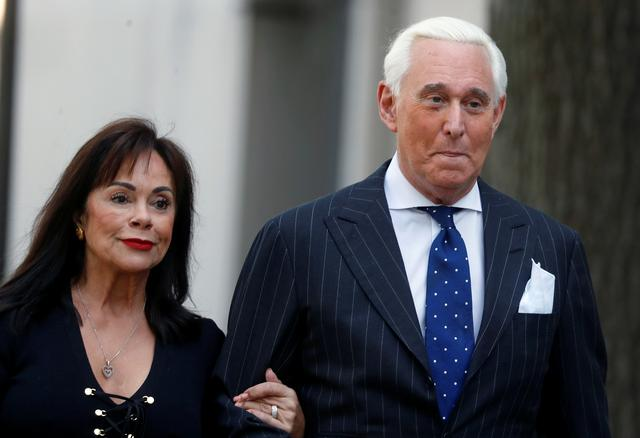 Roger Stone, former campaign adviser to U.S. President Donald Trump, arrives with his wife Nydia for the continuation of his criminal trial on charges of lying to Congress, obstructing justice and witness tampering at U.S. District Court in Washington, U.S., November 15, 2019. REUTERS/Yara Nardi