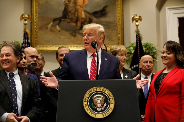 U.S. President Donald Trump delivers remarks on honesty and transparency in healthcare prices inside the Roosevelt Room at the White House in Washington, U.S., November 15, 2019. REUTERS/Tom Brenner