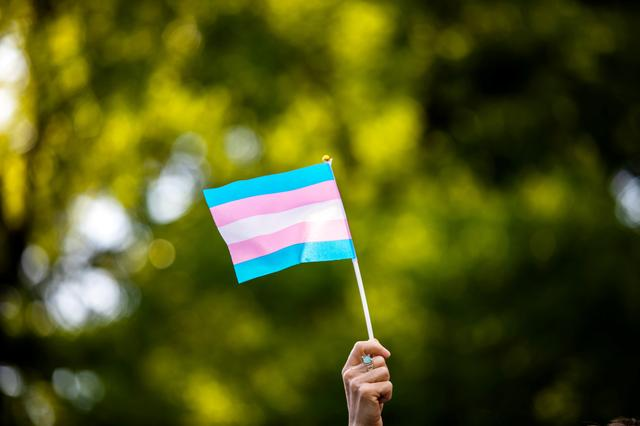 FILE PHOTO: Transgender rights activist waves a transgender flag as they protest the killings of transgender women this year, at a rally in Washington Square Park in New York, U.S., May 24, 2019. REUTERS/Demetrius Freeman/File Photo
