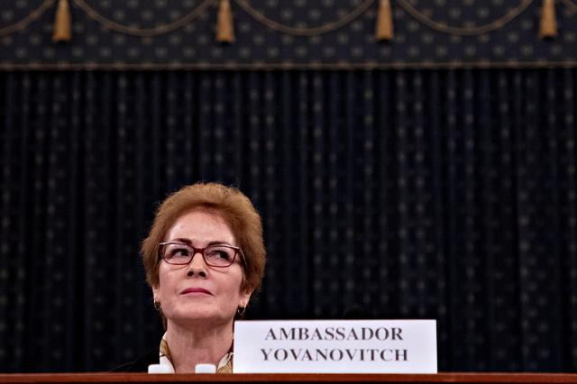 Marie Yovanovitch, former U.S. ambassador to Ukraine, is sworn in to testify before a House Intelligence Committee hearing as part of the impeachment inquiry into U.S. President Donald Trump on Capitol Hill in Washington, U.S., November 15, 2019. Andrew Harrer/Pool via REUTERS
