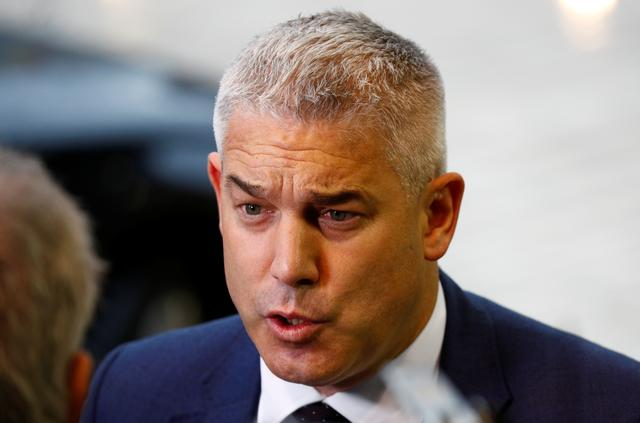 FILE PHOTO: Britain's Brexit Secretary Stephen Barclay speaks as he arrives at the General Affairs council addressing the state of play of Brexit, in Luxembourg October 15, 2019.  REUTERS/Francois Lenoir