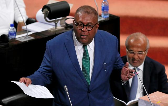 Sri Lankan Finance Minister Mangala Samaraweera presents the 2019 budget proposals at the parliament in Colombo, Sri Lanka March 5, 2019. REUTERS/Dinuka Liyanawatte