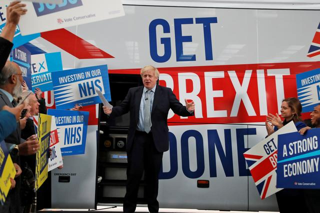 Britain's Prime Minister Boris Johnson addresses his supporters in front of the general election campaign trail bus in Manchester, Britain November 15, 2019. Frank Augstein/Pool via REUTERS
