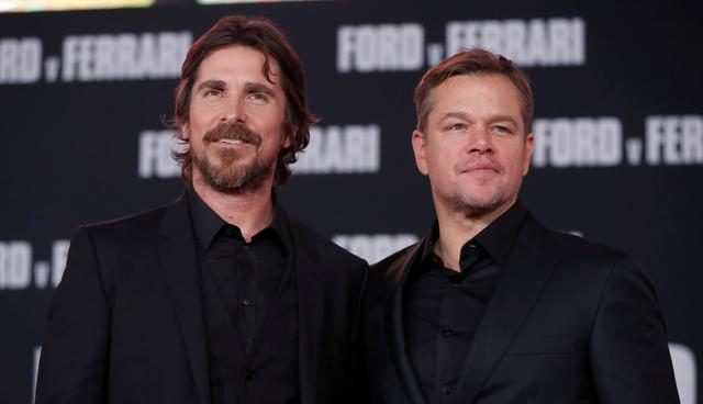 "Cast members Christian Bale and Matt Damon pose at a special screening for the movie ""Ford v Ferrari"" in Los Angeles, California, U.S., November 4, 2019. REUTERS/Mario Anzuoni"