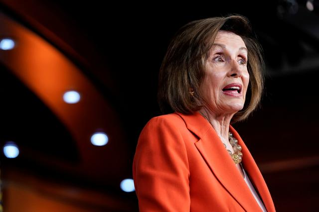 FILE PHOTO: Speaker of the House Nancy Pelosi (D-CA) speaks during a media briefing ahead of a House vote authorizing an impeachment inquiry into U.S. President Trump on Capitol Hill in Washington, U.S., October 31, 2019. REUTERS/Joshua Roberts/File Photo