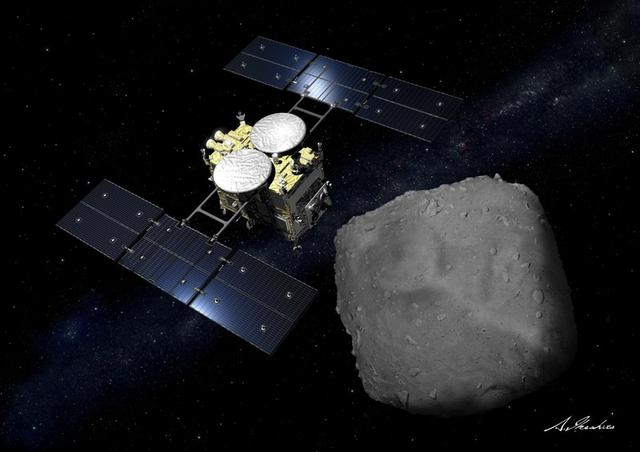 Computer graphic handout image shows Japan Aerospace Exploration Agency's Hayabusa 2 probe arriving at an asteroid in the image released by Japan Aerospace Exploration Agency, created March 18, 2019 and obtained by Reuters on November 18, 2019. Japan Aerospace Exploration Agency (JAXA)/Handout via Reuters