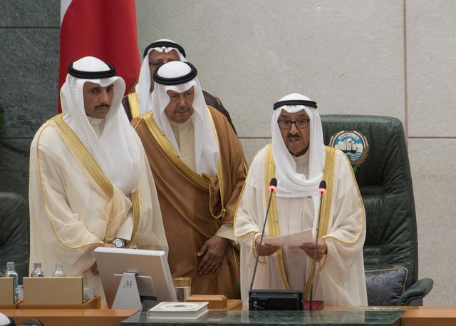 FILE PHOTO: Kuwait's Emir Sheikh Sabah al Ahmad al Sabah reads his opening speech at the start of the 4th ordinary session of the 15th Legislative Parliament in Kuwait city, Kuwait October 29, 2019. REUTERS/Stephanie McGehee