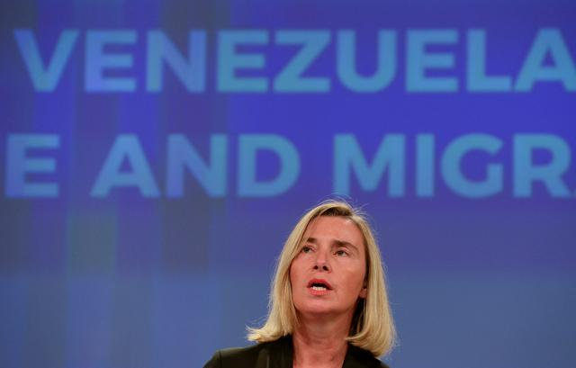 European Union Foreign Policy Chief Federica Mogherini takes part in a news conference after an International Solidarity Conference on the Venezuelan Refugee and Migrant crisis, in Brussels, Belgium October 29, 2019.  REUTERS/Johanna Geron