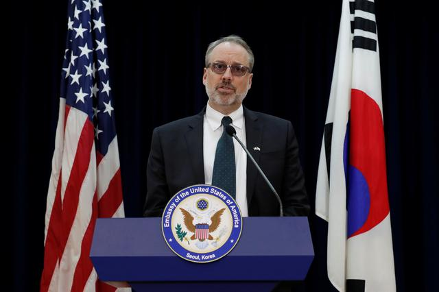 James DeHart, U.S. Department of State's a senior advisor for security negotiations and agreements bureau of political-military affairs, speaks after a meeting with South Korean counterpart on the Special Measures Agreement (SMA) at the public affairs section of the U.S. Embassy in Seoul, South Korea November 19, 2019.   Lee Jin-man/Pool via REUTERS