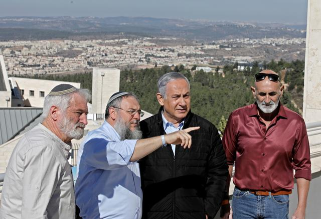 Israeli Prime Minister Benjamin Netanyahu meets heads of regional councils in Jewish settlements  at the Alon Shvut settlement, in the Gush Etzion block in the occupied West Bank November 19, 2019. Menahem Kahana/Pool via REUTERS