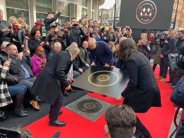 Pete Townshend and Roger Daltrey of The Who attend the unveiling of the founding stone of the new Music Walk of Fame in London, Britain, November 19, 2019. REUTERS/Marissa Davison