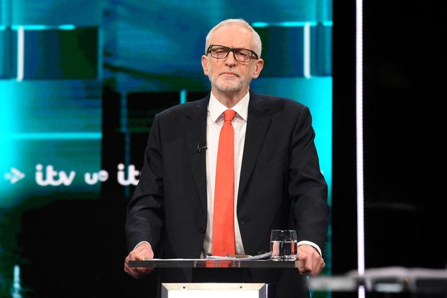Labour leader Jeremy Corbyn is seen during a televised debate ahead of general election in London, Britain, November 19, 2019. Jonathan Hordle/ITV/Handout via REUTERS