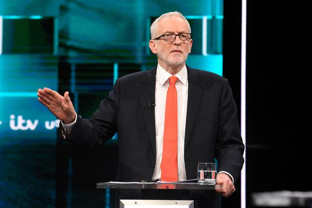 Labour leader Jeremy Corbyn speaks during a televised debate with Conservative leader Boris Johnson ahead of general election in London, Britain, November 19, 2019. Jonathan Hordle/ITV/Handout via REUTERS
