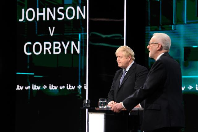 Conservative leader Boris Johnson and Labour leader Jeremy Corbyn are seen during a televised debate ahead of general election in London, Britain, November 19, 2019. Jonathan Hordle/ITV/Handout via REUTERS THIS IMAGE HAS BEEN SUPPLIED BY A THIRD PARTY. NO RESALES. NO ARCHIVES. PICTURE AVAILABLE FOR USE ONLY UNTIL DECEMBER 19TH 2019.