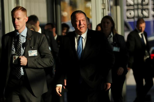 U.S. Secretary of State Mike Pompeo arrives to attend a NATO foreign ministers meeting at the Alliance headquarters in Brussels, Belgium November 20, 2019. Francisco Seco/Pool via REUTERS