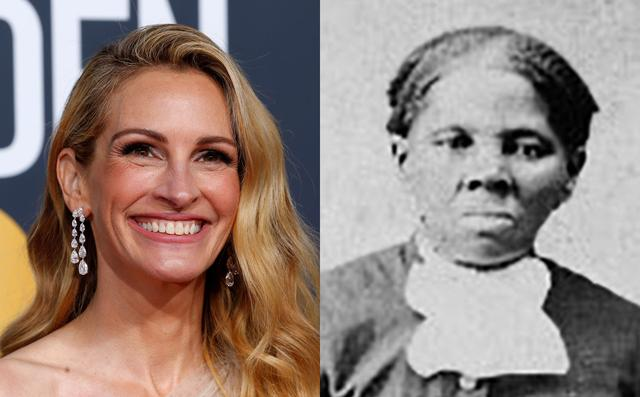 Actor Julia Roberts (L) and anti-slavery crusader Harriet Tubman (R) are pictured in this combination photo. REUTERS/Mike Blake/Library of Congress/Handout