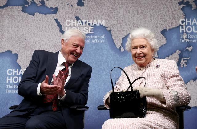 David Attenborough sits next to Britain's Queen Elizabeth during the annual Chatham House award in London, Britain November 20, 2019. REUTERS/Simon Dawson