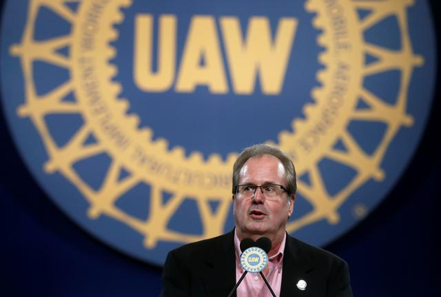 FILE PHOTO: United Auto Workers (UAW) union President Gary Jones addresses UAW delegates at the 'Special Convention on Collective Bargaining' in Detroit, Michigan, U.S. March 13, 2019. REUTERS/Rebecca Cook