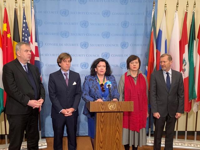 European ambassadors to the United Nations Security Council (L-R) Jurgen Schulz, German Deputy Ambassador to the UN, France's Nicolas De Riviere, Britain's Karen Pierce, Poland's Joanna Wronecka and Belgium's Marc Pecsteen de Buytswerve reiterate their position on Israeli settlements in occupied Palestinian territories ahead of a Security Council meeting on the Middle East at the United Nations in New York, U.S., November 20, 2019.  REUTERS/Rodrigo Campos