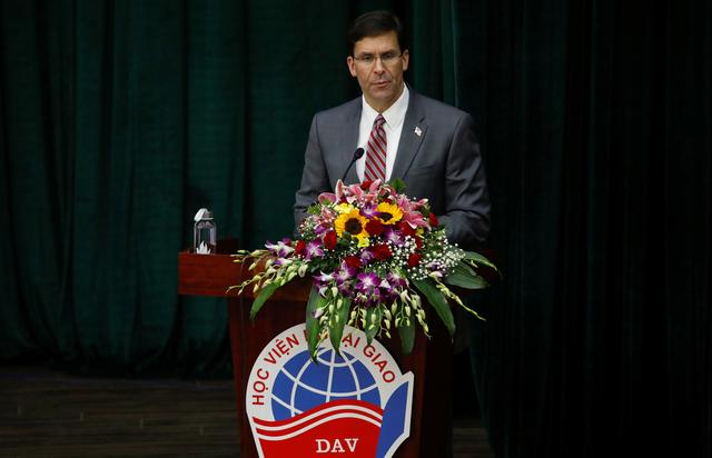 FILE PHOTO: U.S. Defense Secretary Mark Esper speaks at the Diplomatic Academy of Vietnam in Hanoi, Vietnam November 20, 2019. REUTERS/Kham/File Photo