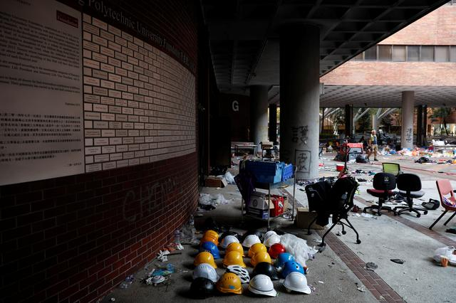 Helmets of protesters are left behind in Hong Kong Polytechnic University (PolyU) in Hong Kong, China November 21, 2019.  REUTERS/Adnan Abidi