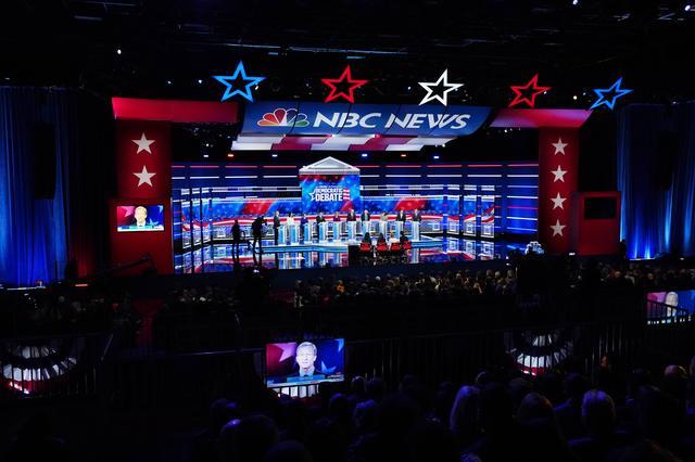 Democratic U.S. presidential candidates during their fifth 2020 campaign debate at the Tyler Perry Studios in Atlanta, Georgia, U.S. November 20, 2019. REUTERS/Brendan McDermid