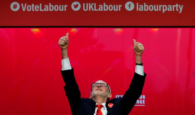 Leader of the Labour Party Jeremy Corbyn gestures at the launch of the party manifesto in Birmingham, Britain November 21, 2019. REUTERS/Phil Noble