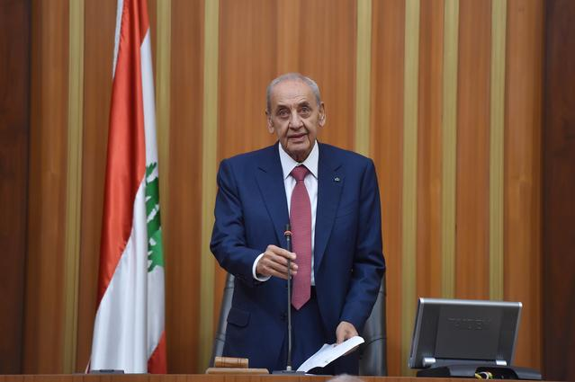 FILE PHOTO - Nabih Berri, speaks after he was re-elected Lebanon's parliamentary speaker, as Lebanon's newly elected parliament convenes for the first time to elect a speaker and deputy speaker in Beirut, Lebanon May 23, 2018. Lebanese Parliament/Handout via REUTERS