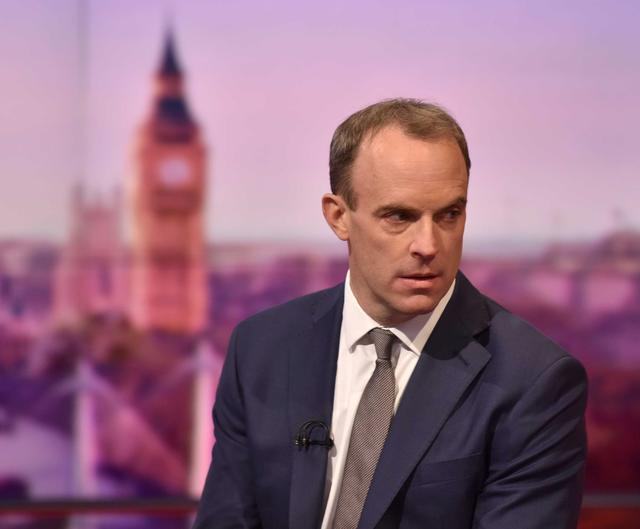 FILE PHOTO: Britain's Foreign Secretary Dominic Raab appears on BBC TV's The Andrew Marr Show in London, Britain, November 17, 2019. Jeff Overs/BBC/Handout via REUTERS
