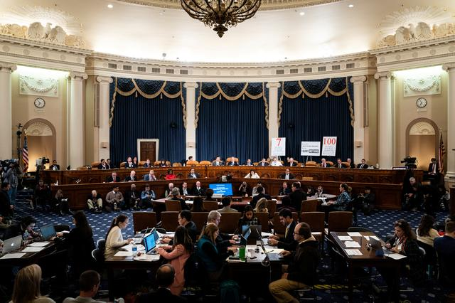 House Intelligence Committee impeachment inquiry hearing with Laura Cooper, deputy assistant secretary of defense for Russia, Ukraine and Eurasia, and David Hale, undersecretary of state for political affairs, on Capitol Hill in Washington, DC on November 20, 2019.  Erin Schaff/Pool via REUTERS