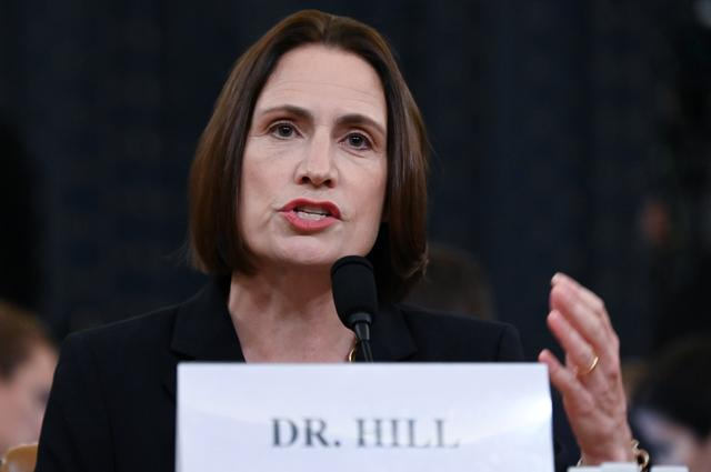Fiona Hill, former senior director for Europe and Russia on the National Security Council, testifies to a House Intelligence Committee hearing as part of the impeachment inquiry into U.S. President Donald Trump on Capitol Hill in Washington, U.S., November 21, 2019. REUTERS/Erin Scott