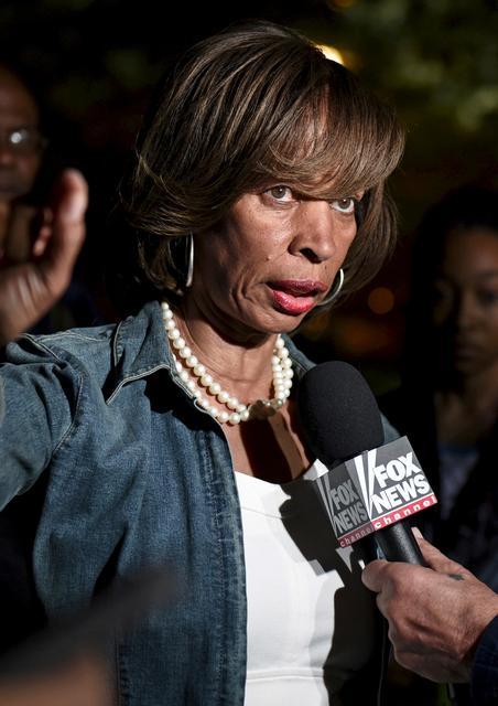 FILE PHOTO:  Catherine Pugh, at the time state senator, is pictured speaking near City Hall in Baltimore May 2, 2015.  REUTERS/Sait Serkan Gurbuz/File photo/File Photo