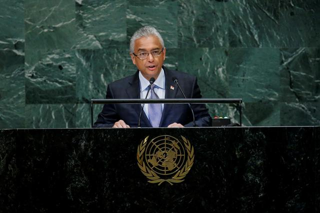 FILE PHOTO: Mauritius Prime Minister Pravind Kumar Jugnauth addresses the 73rd session of the United Nations General Assembly at U.N. headquarters in New York, U.S., September 28, 2018. REUTERS/Eduardo Munoz/