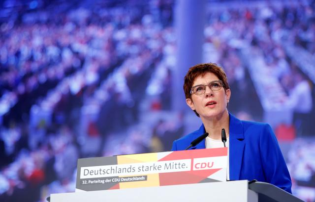 CDU party chairwoman Annegret Kramp-Karrenbauer speaks at the Christian Democratic Union (CDU) party congress in Leipzig, Germany, November 22, 2019. REUTERS/Hannibal Hanschke