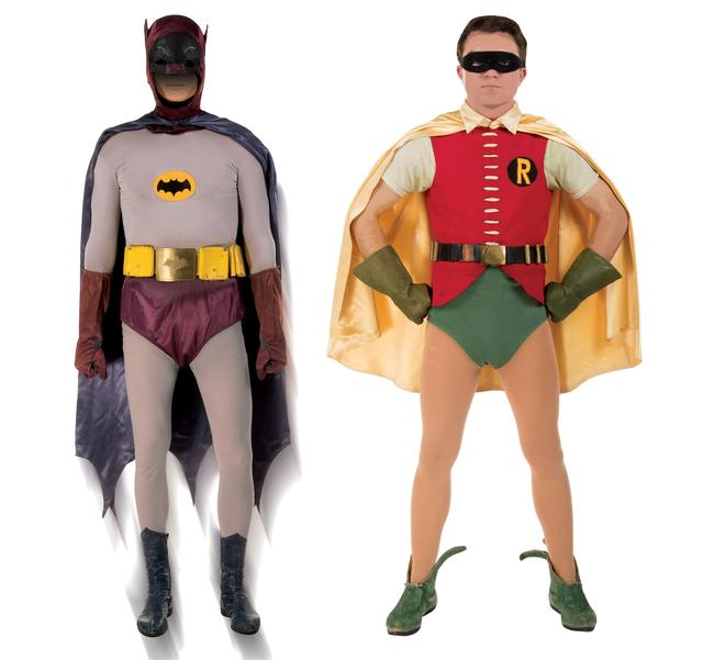 Batman and Robin outfits, which are described as the only known complete costumes worn on the 1960s television show, are seen in an undated combination photo before going up for auction in Los Angeles, California, U.S.  Courtesy of the Azarian Collection/Profiles in History/Handout via REUTERS