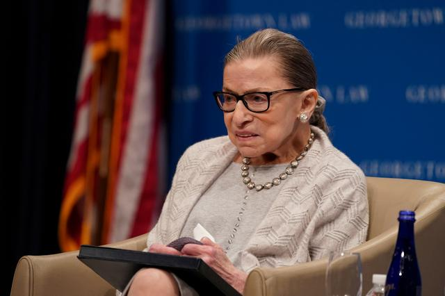 FILE PHOTO: U.S. Supreme Court Justice Ruth Bader Ginsburg participates in a discussion hosted by the Georgetown University Law Center in Washington, D.C., U.S., September 12, 2019. REUTERS/Sarah Silbiger./File Photo