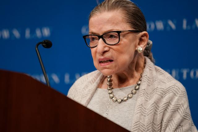 FILE PHOTO: U.S. Supreme Court Justice Ruth Bader Ginsburg delivers remarks during a discussion hosted by the Georgetown University Law Center in Washington, D.C., U.S., September 12, 2019. REUTERS/Sarah Silbiger/File Photo