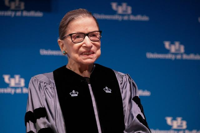 FILE PHOTO: U.S. Supreme Court Justice Ruth Bader Ginsburg smiles during a reception where she was presented with an honorary doctoral degree at the University of Buffalo School of Law in Buffalo, New York, U.S., August 26, 2019.  REUTERS/Lindsay DeDario/File Photo