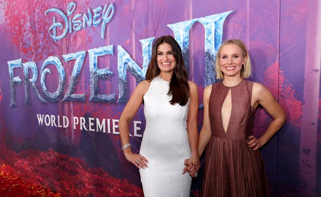 "FILE PHOTO: Cast members Idina Menzel (L) and Kristen Bell pose at the premiere for the film ""Frozen II"" in Los Angeles, California, U.S., November 7, 2019. REUTERS/Mario Anzuoni/File Photo"