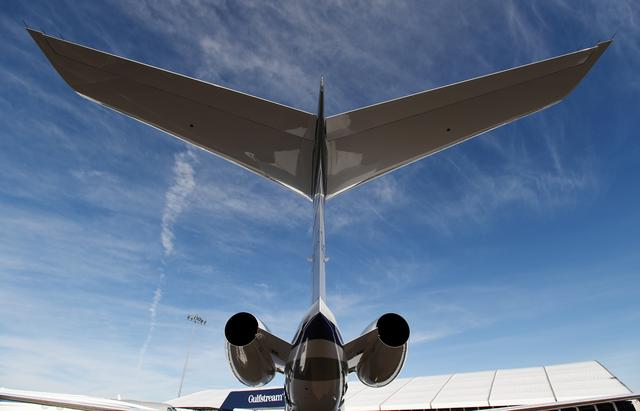FILE PHOTO: A Gulfstream 650ER business jet is displayed at the Gulfstream booth at the National Business Aviation Association (NBAA) exhibition in Las Vegas, Nevada, U.S. October 21, 2019.  REUTERS/David Becker/File Photo