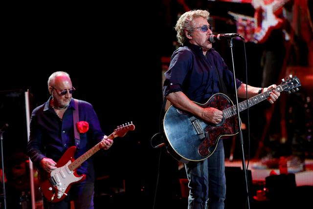 FILE PHOTO: Roger Daltrey (R) and Pete Townshend of The Who perform at Desert Trip music festival at Empire Polo Club in Indio, California U.S., October 9, 2016. REUTERS/Mario Anzuoni/File Photo