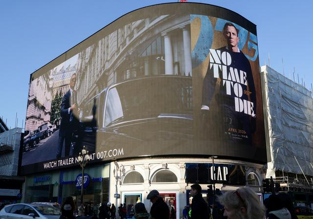 "A film trailer for the 25th instalment in the James Bond series entitled ""No Time to Die"" is displayed at Piccadilly Circus in London, December 4, 2019. REUTERS/Lisi Niesner"