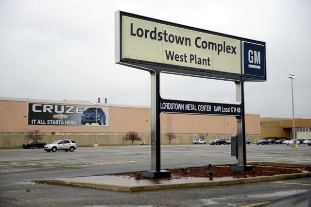 FILE PHOTO: A view of the entrance to the West Plant at the General Motors Lordstown Complex, assembly plant in Warren, Ohio, U.S., November 26, 2018. REUTERS/Alan Freed/File Photo