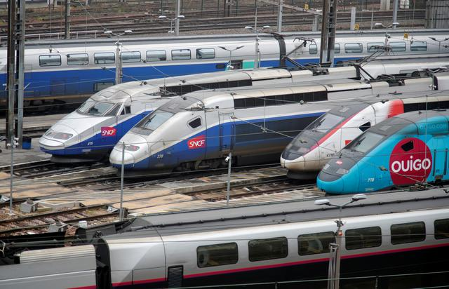 TGV trains (high speed train) are parked at a SNCF depot station in Charenton-le-Pont near Paris as part of a day of national strike and protests against French government's pensions reform plans in France, December 5, 2019.  REUTERS/Charles Platiau