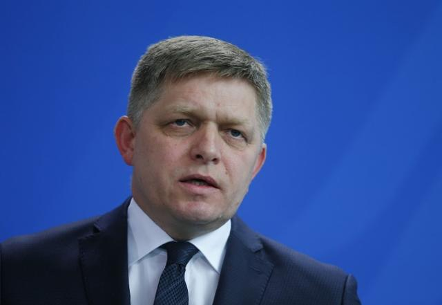 FILE PHOTO: Slovakian Prime Minister Robert Fico speaks during the news conference at the Chancellery in Berlin, Germany, April 3, 2017. REUTERS/Hannibal Hanschke
