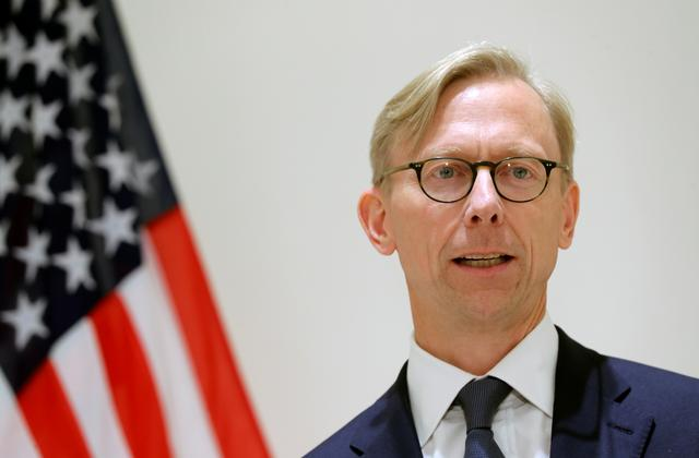 FILE PHOTO: Brian Hook, U.S. Special Representative for Iran, speaks at a news conference in London, Britain June 28, 2019. REUTERS/Simon Dawson