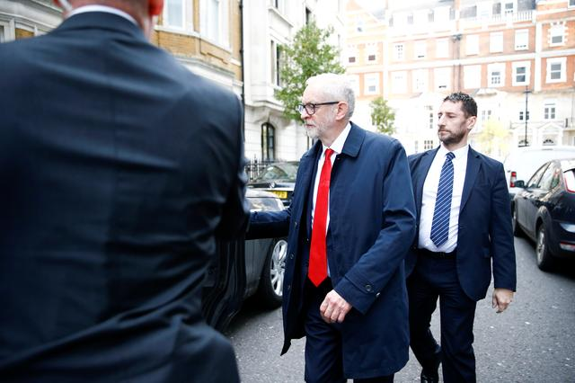 FILE PHOTO: Leader of the Labour Party Jeremy Corbyn leaves the BBC Headquarters after appearing on the Andrew Marr show in London, Britain, November 17, 2019. REUTERS/Henry Nicholls/File Photo